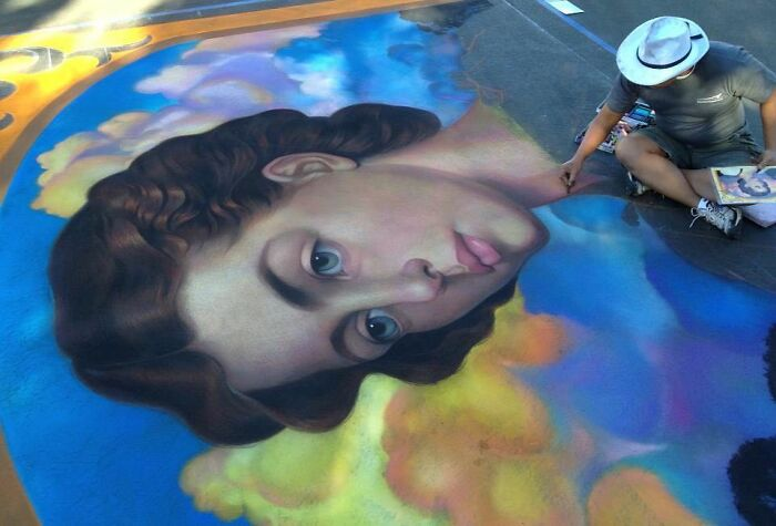 Using The Street As A Canvas, The Artist Makes Incredibly Realistic Drawings With Chalk