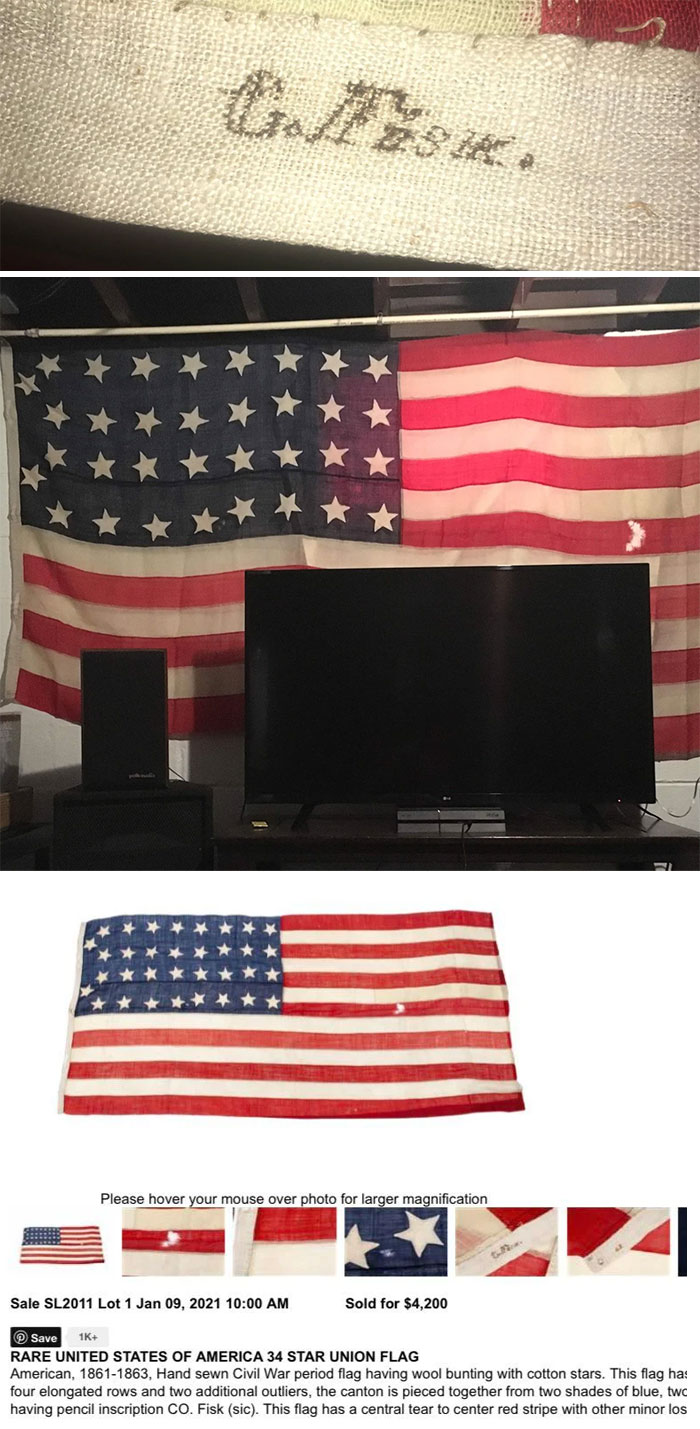 Bought This Flag At Goodwill For $20 And Just Sold It At Auction For $4,200!! Thought It Was A Cool Wall Decoration, Turned Out To Be A Civil War Union General's Flag!!