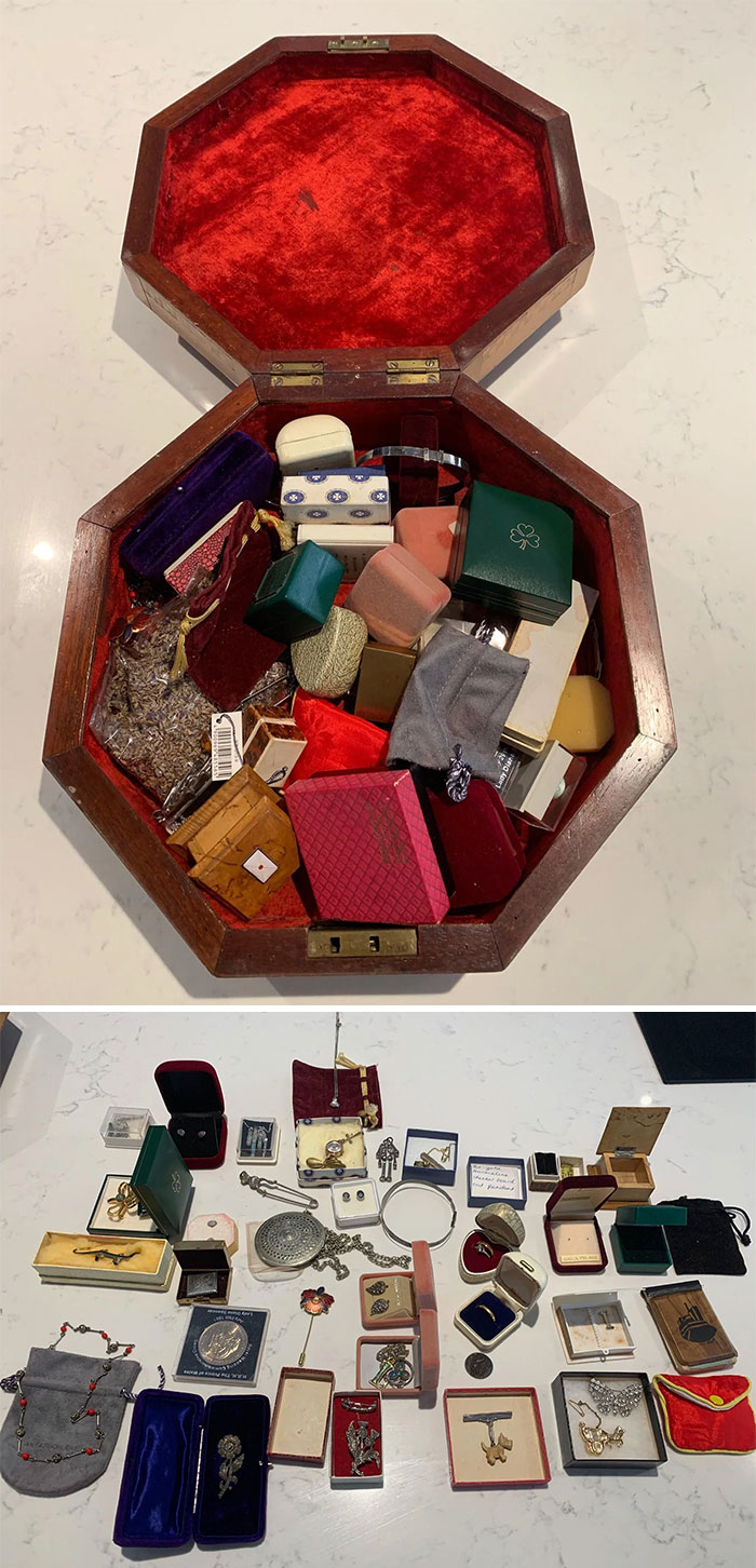 Well I Got It Open And Here Are The Contents Of The Octagonal Sewing Box