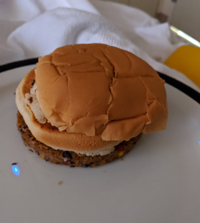 This Veggie Burger Was Served To Me In The Hospital. 10/10 For Presentation
