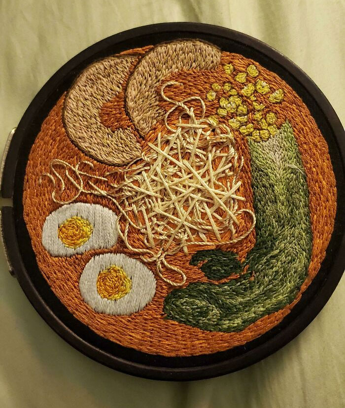 My Girlfriend Just Passed Away But This Was The Last Thing She Embroidered. It's A Bowl Of Ramen, Our Favorite Thing To Eat Together