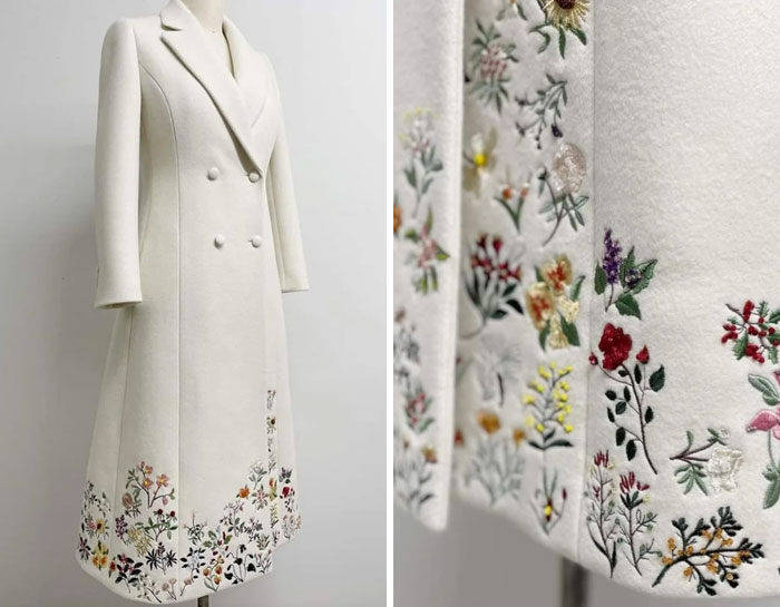 Dr Jill Bidens Coat For Inauguration Night, Featuring All 50 State Flowers. Uruguayan-American Designer Gabriela Hearst Said Each Flower To Between 2-4 Hours By Hand