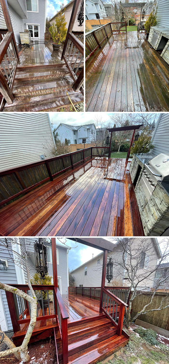 Tigerwood Deck Power Wash Before And After. Applied Penofin Brightener To Restore The Wood Balance
