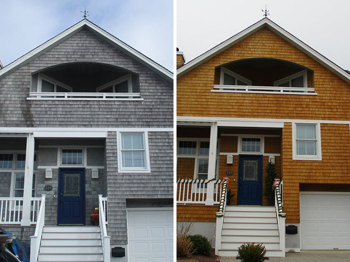 A Little Before And After Of A Cedar Sided Home Restoration. Low Pressure And Relying On The Right Chemicals For The Job. We Love Seeing Jobs Turn Out This Good