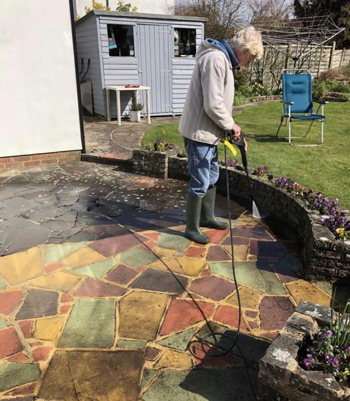 My Nan And Grandad's Patio Hasn't Been Washed In Probably Over 30 Years. I'm 22 And Had No Idea It Was Colored. They Decide To Wash It Today And We're Shocked