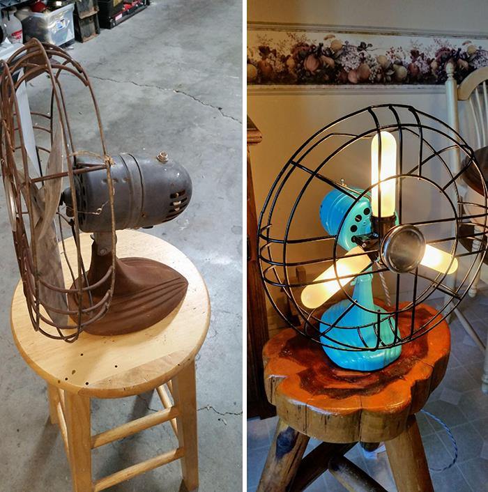 Turned An Old Fan With A Bad Motor Into A Lamp