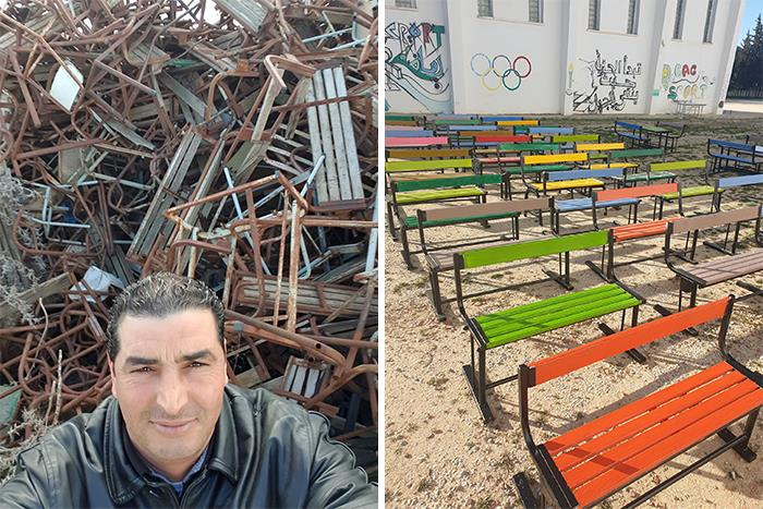 The School Security Guard Decided To Save The Discarded Benches And Gave Them A Second Life