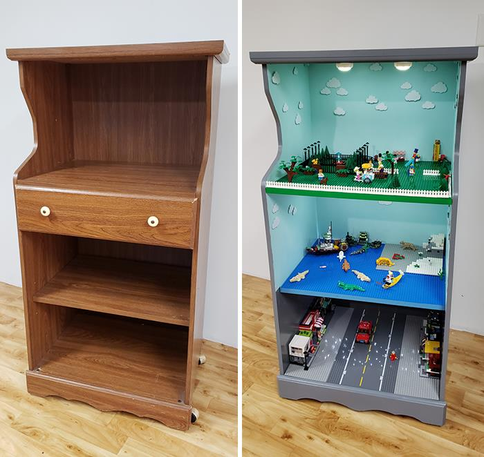 I Turned An Old Microwave Cart Into A Rolling LEGO Stand For My Daughters For Christmas