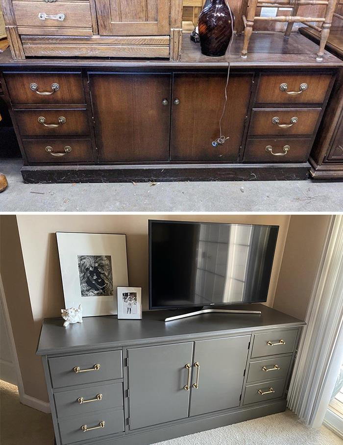 Turned An Old Office Credenza Into A New TV Stand