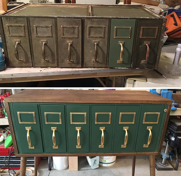 Pulled Out Of A Trash Heap. It Was One Part Of A Military File Cabinet. Thorough Cleaning, Paint And A Little Shining Up Followed By Wrapping It In Wood From My Scrap Pile. Added Some Legs And Bingo Bango!