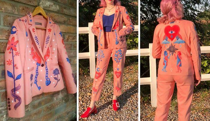 Upcycled A Thrifted Suit By Painting On It ! It Took Me About 30 Hours, But I Love The Result