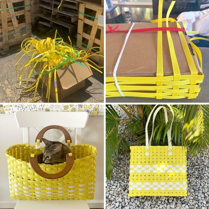 I Take Plastic Shipping /Bale Straps From Hardware Store Waste, And Make Sturdy, Functional & Fashionable Baskets! (My Cats Also Love Them At Every Stage)