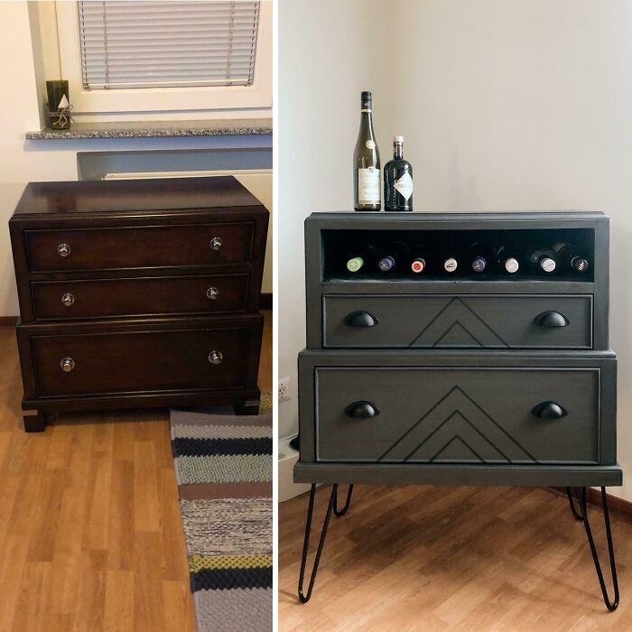 A Neighbor Was Giving Away This Kid Size Chest Of Drawers For Free, So I Snagged It And Made It Into A Quarantine Bar
