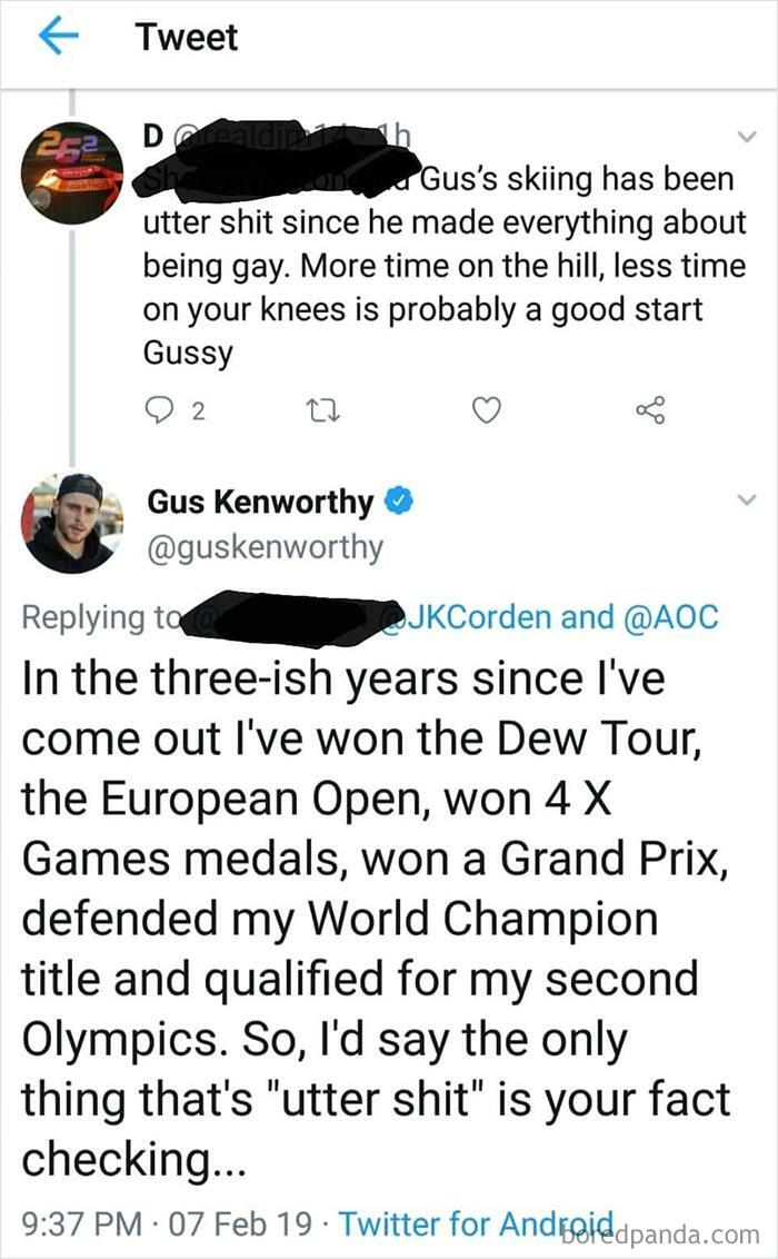 Olympian Gus Kenworthy Puts Down Homophobe
