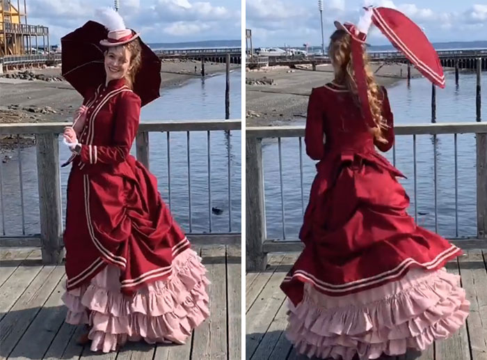 I Made A Victorian Walking Dress With A Matching Hat And Parasol For A Festival In A Nearby Port Town (B6400, TV1884 Wash Overskirt, Self Drafted)