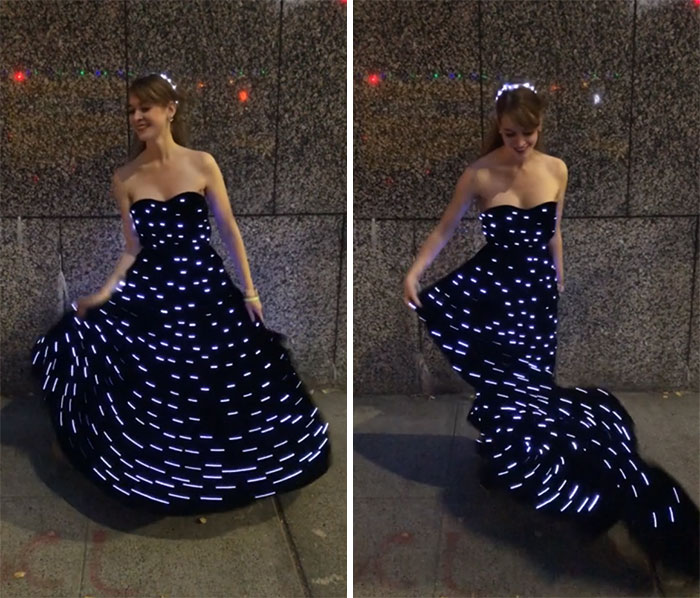 I Made A Velvet Dress With Leds To Look Like The Night Sky (Self Drafted)