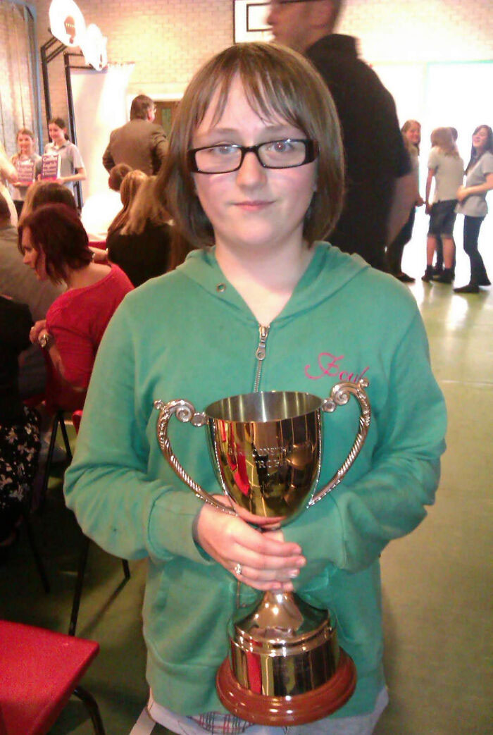 11yo Me After Winning A Trophy, Actively Being Bullied In The Background