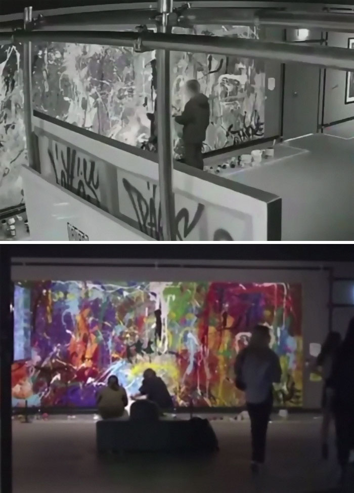 A Young Couple Accidentally Vandalized A $500,000 Painting After Believing Art Supplies Near The Artwork Were Intended For Audience Participation