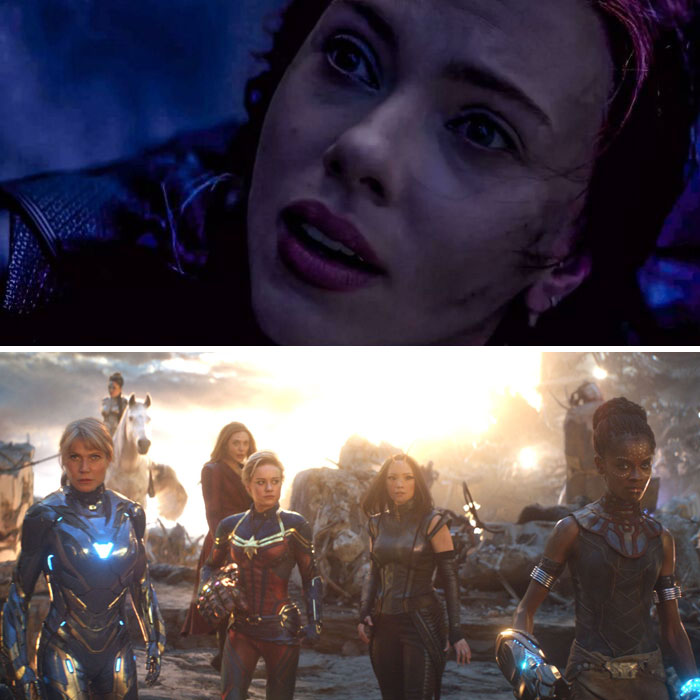 In Avengers: Endgame (2019), Scarlet Johansson Throws Herself Off A Cliff So She Doesn't Have To Be Part Of The Girl Power Scene