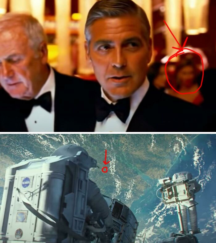 The Same Woman Who Appears As A Background Extra In This George Clooney Scene In Ocean's Thirteen (2007) Also Appears In The Background Of A George Clooney Scene In Gravity (2013)