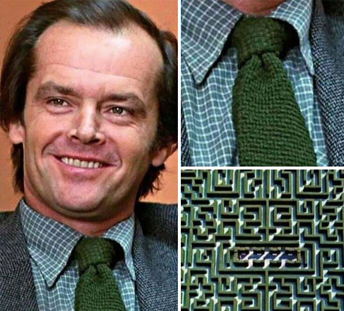 In The Movie The Shining, If You Zoom Into Jack Torrance's Green Knitted Tie You Can Spot The Hedge Maze Where He Got Lost And Died