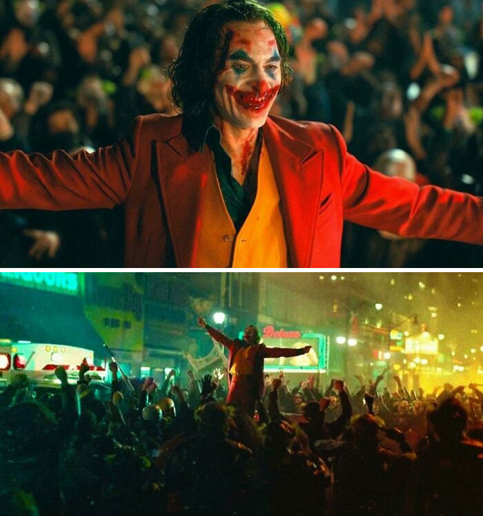 In Joker (2019) We See Joker Wearing Red And Lifting His Arms To Take Flight. But He Couldn't Fly Because, Despite The Actor's Name, He Is Not A Real Phoenix