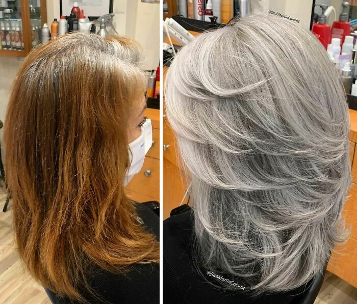 30 People Before And After Embracing Their Natural Grey Hair With The Help Of This Hairstylist (New Pics)