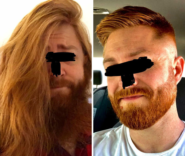 Chopped Off The Mane And Beard. I Really Loved My Long Hair, But I Think The Fresh Cut Fits Me. Keep It Short, Or Grow It Back Out?