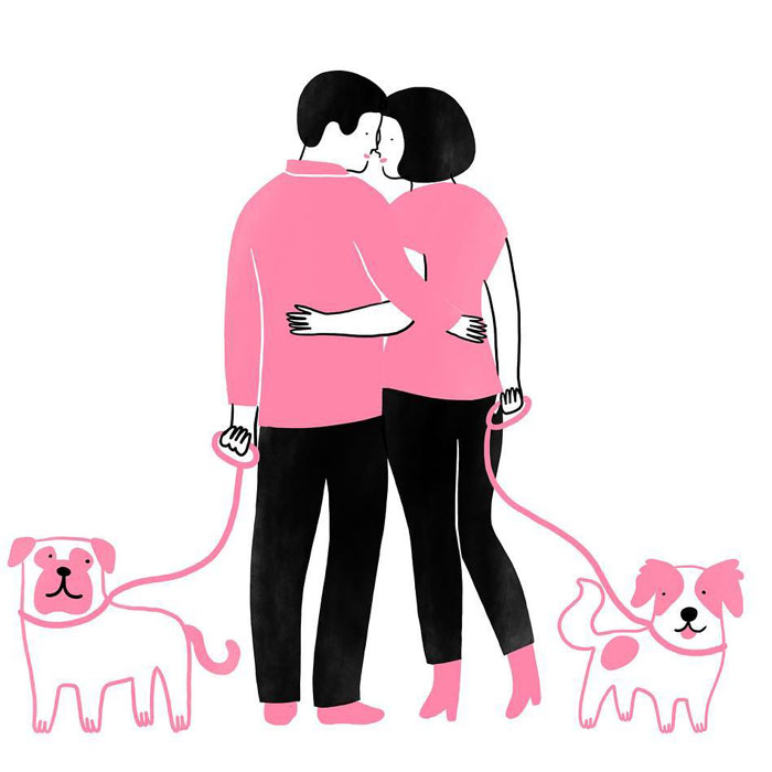Artist Expresses Her Love For Cats And Dogs In Adorable Minimalist Illustrations (36 Pics)