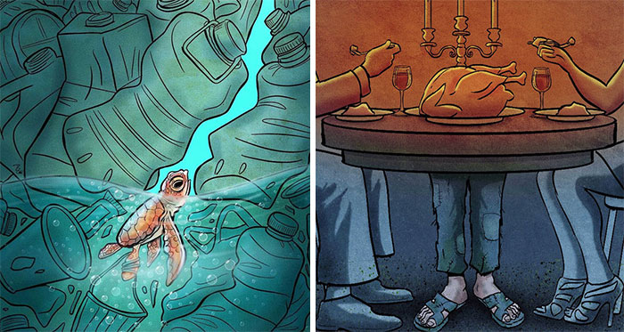 Este artista lanza una mirada crítica a la sociedad moderna y llama la atención sobre los problemas del mundo actual con sus ilustraciones que invitan a la reflexión