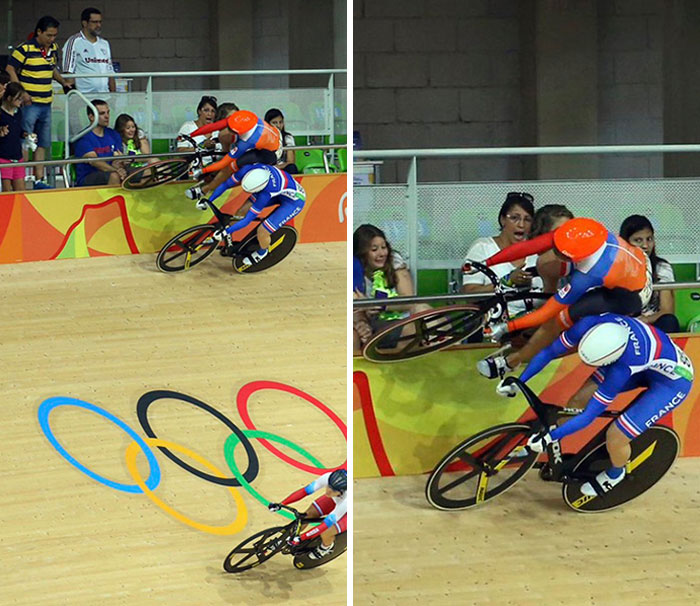 Dutch Track Cyclist Laurine Van Riessen Riding The Wall Of The Track At The Rio Olympics