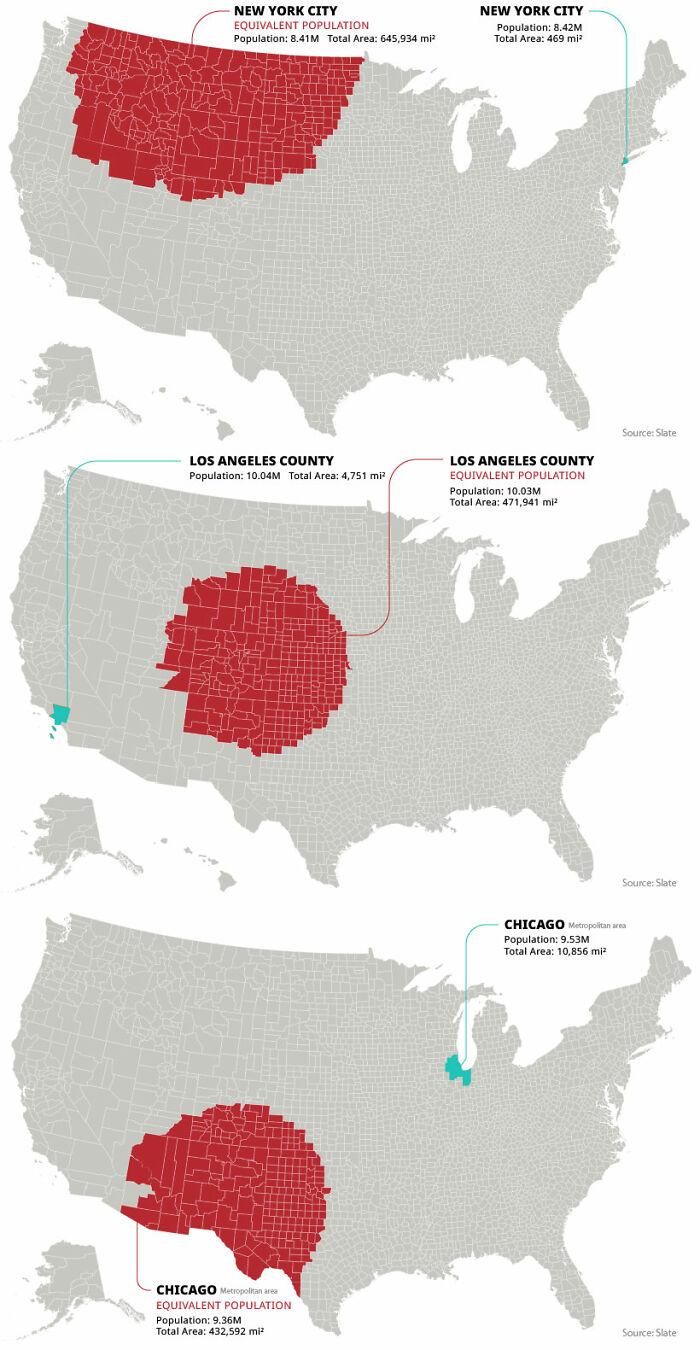 Equivalente rural de la ciudad de Nueva York, Los Ángeles y Chicago