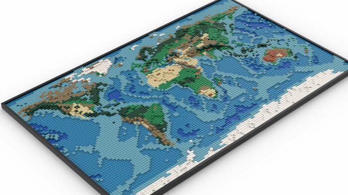 ¡Este es un mapa mundial de LEGO que he diseñado! Pasé muchas horas mirando Google Earth y mapas topológicos para hacer este
