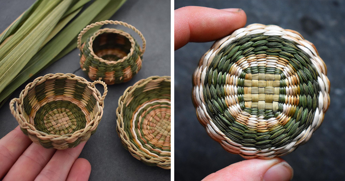 30 Mini Baskets Woven Using Invasive Plants And Weeds By Artist Suzie Grieve