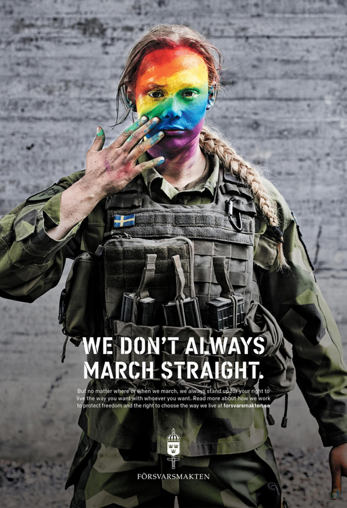 We Don't Always March Straight, Swedish Armed Forces Gay Pride Poster, 2018