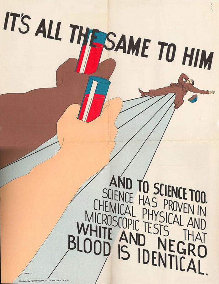 Poster Distributed By Youthbuilders, The Student Group From New York City's Ps 43, To Protest Segregated Blood Banks, Produced In 1945.