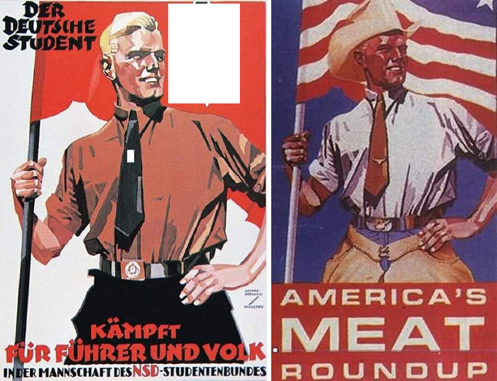 Hitler Youth Poster (1930s) And American Meat Industry Poster (1980s)