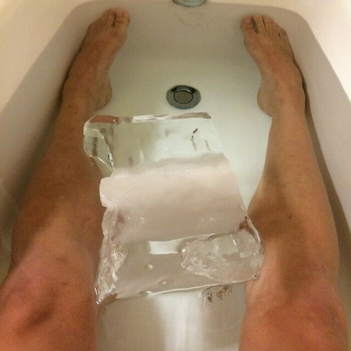 Now This Is An Ice Bath. 30lbs Block Of Ice