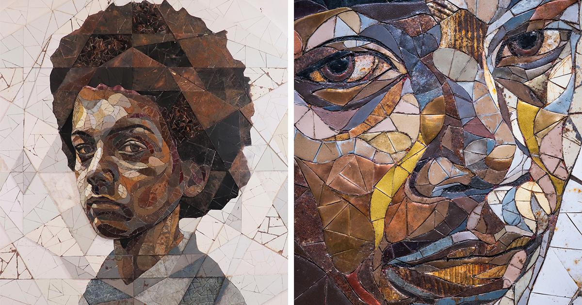 19 Expressive Portraits Created As Scrap-Metal Mosaics That Question Societal Notions Of Value