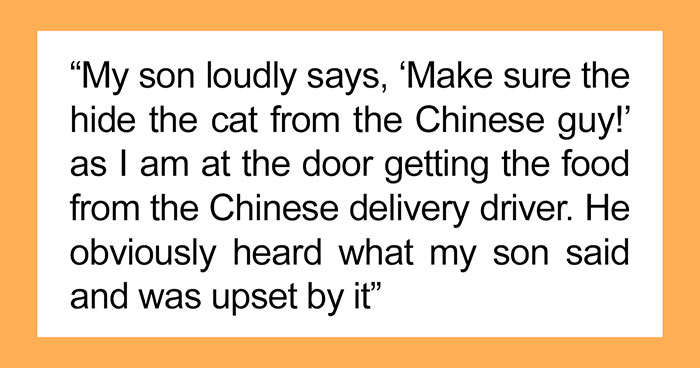 """""""It Was 'Just A Joke'"""": Mom Argues With Husband After Punishing Son For Making A Racist Joke About Asian Delivery Guy"""