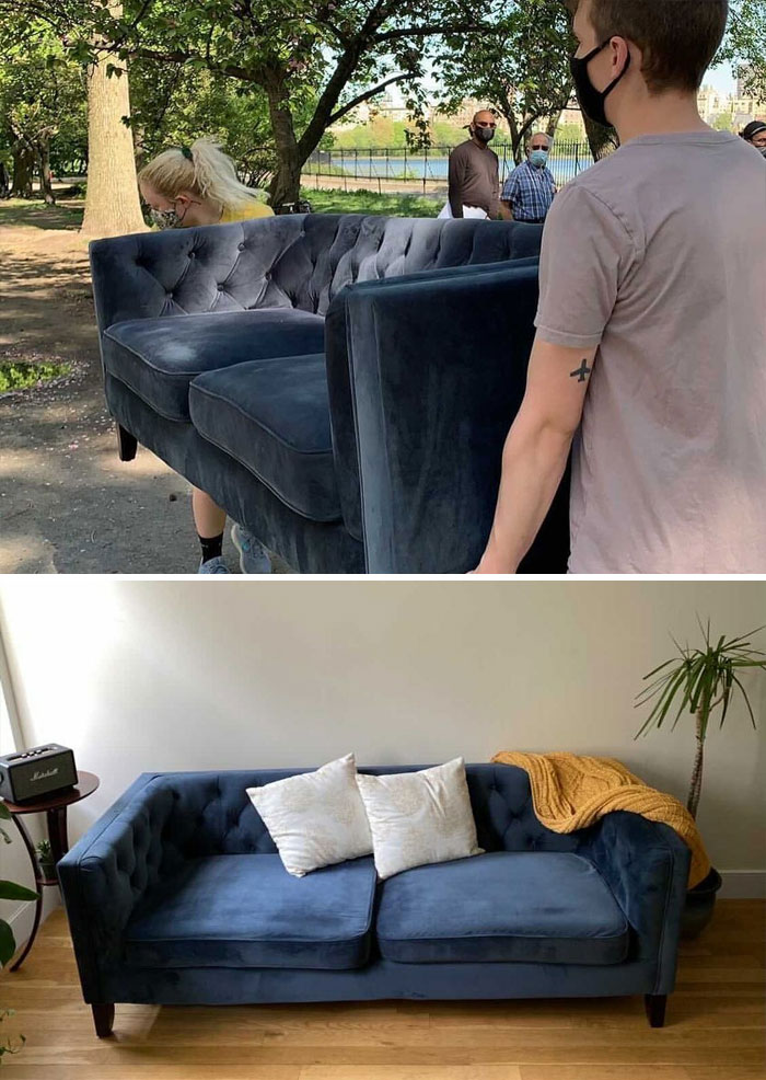 """Okay Guys, Get Ready For Story Time!!! """"After 1.5 Miles Of Walking, Several Breaks, And Many Words Of Support From The Central Park Joggers, We Finally Brought Our New Couch From The West To The East Side. Thank You Stooping!"""". No Nick Lahger, Thank You!"""
