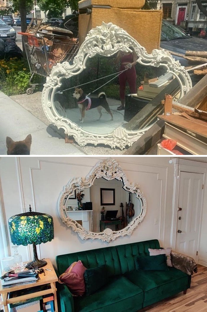 """Please Take A Moment To Acknowledge This Insanely Beautiful Stooping Success From A_modern_classic !! """"Living In Some Deep Stoop Gratitude With This Mirror From The Other Day, And Having Finally Repainted My Stooped Dresser And Desk!"""""""