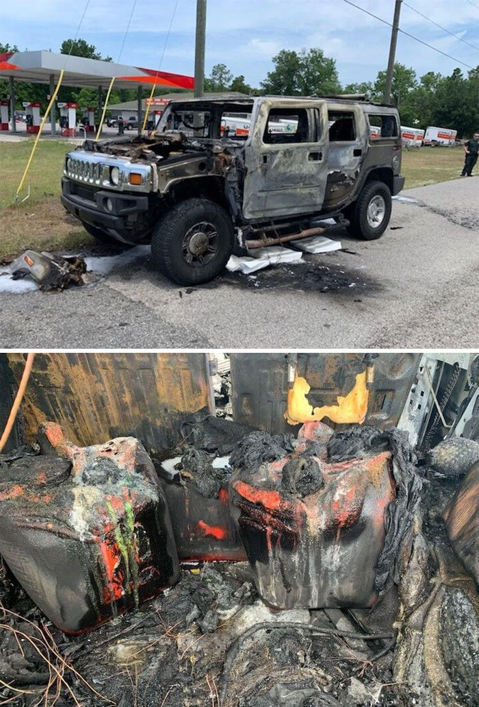Idiot In Hummer Filled 5 Gas Cans Expecting Shortages. Put Them In His Car And Lit Up A Cigarette. Hummer Destroyed