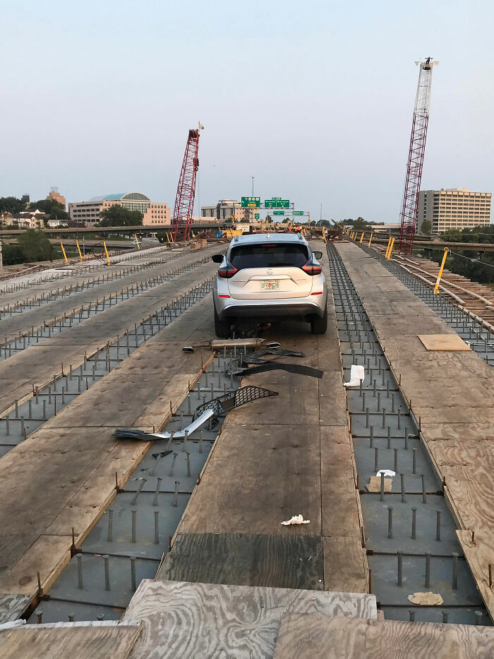 Dude Drove Through Barriers And Onto A Bridge Under Construction On I-70 Bridge In KC. Shear Studs Ripped His Undercarriage To Shreds