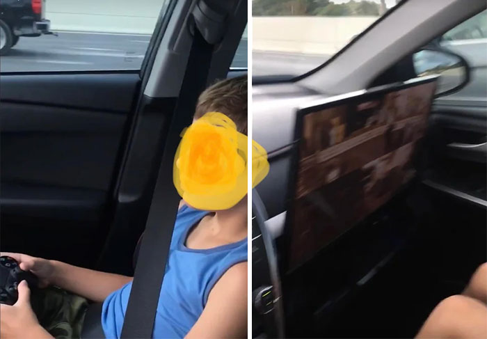 Father Of The Year Has A Ps4 Setup In His Car For His Kids. Monitor Is In Front Of The Airbags