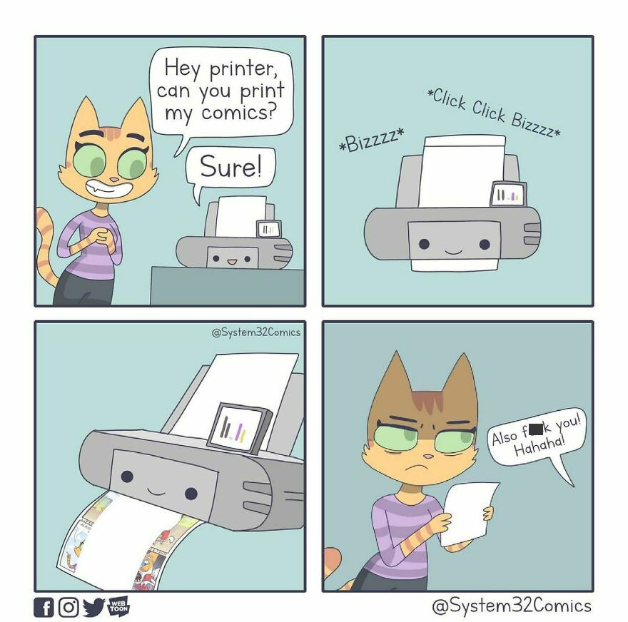 A Crossover Episode With @litterboxcomics Who Makes Amazing Comics!! This Comic Was Inspired By One Of Her Tweets Haha. comic Is Drawn By System32comics please Go Over To @litterboxcomics And Check Out Their Comics!!! #crossover #collab #panel #panels #comedy #printer