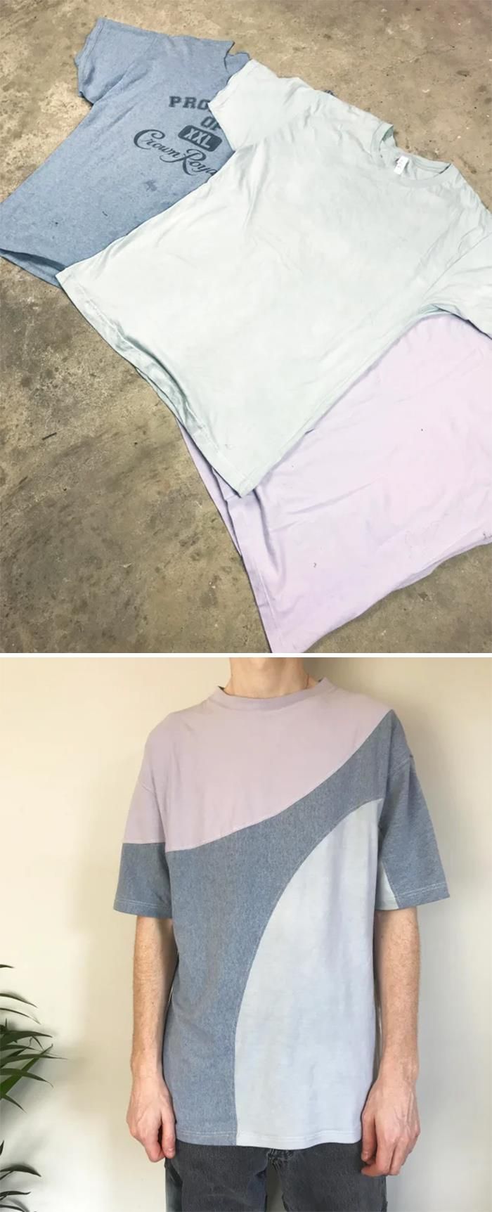 Upcycled 3 Old T-Shirts Into 1 New One