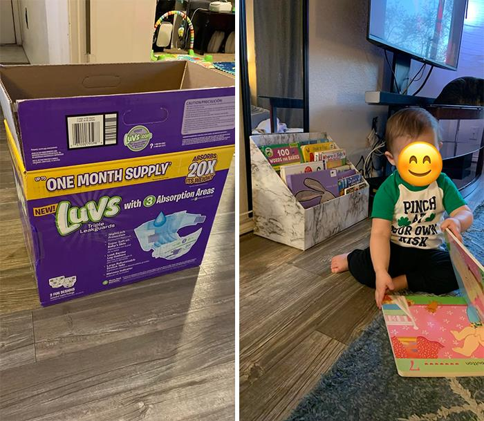 Repurposed A Diaper Box + Some Contact Paper Into A Little Bookcase For My Son