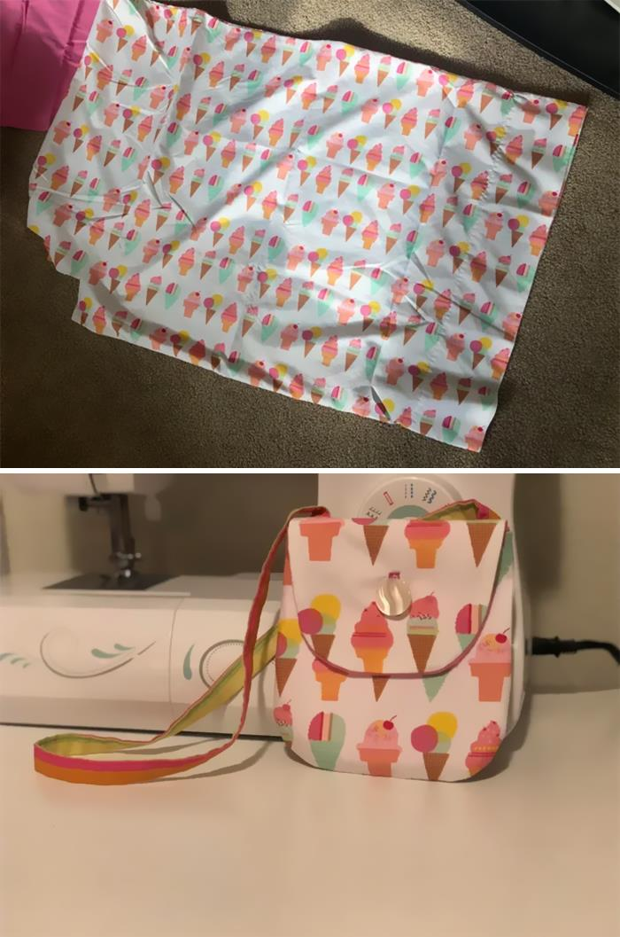 Got This Pillowcase At A Local Thrift Store For 50 Cents! Flipped It Into A Cute Purse!
