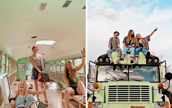 Tras descubrir que salían con el mismo chico, estas 3 chicas renovaron un autobús y se fueron juntas de viaje